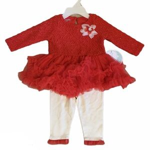 NWT Nanette Baby 2 Pc Holiday Set Red